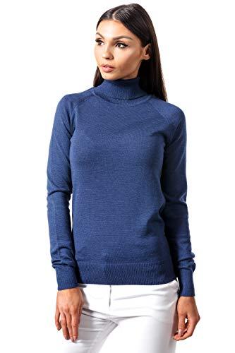 KNITTONS Women Italian Merino Wool Turtleneck Sweater Long Sleeve Pullover (Medium/US 8-10, Navy Melange) ()