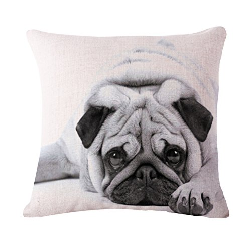 OMY Decorative Cotton Linen Square Throw Pillow Case Cushion Cover With Zip Bull Dog 2017 (Pekingese Dog Miniature)