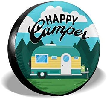 Happy Camper キャンピングジープスペアタイヤカバー 防水 UVサンタイヤカバー ジープ、トレーラー、RV、SUV、その他多くの車に適合 15 inch ブラック THY-74296400