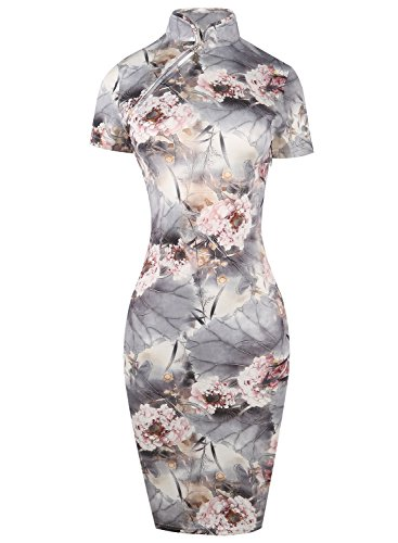 Oxiuly Women's Flower Print Special Occasions Party Pencil Sheath Dress OX183 (S, Gray)