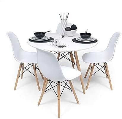 Amazon De Homely Essgruppe Tower 100 Runder Tisch 100 Cm Und 4