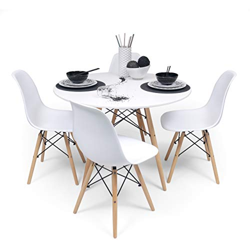 Homely - Conjunto de Comedor Tower 100. Mesa Redonda de 100 cm y 4 sillas Tower (Blanco)