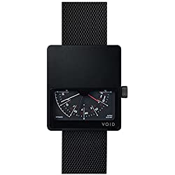 Void V02MKII-BL/MB Men's Analog Black Mesh Bracelet Band Black Dial Watch