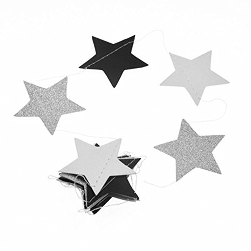 Twinkle Little Star Paper Garland Galaxy Christmas Hanging Banner Happy Birthday Baby Boy Shower Wedding Party Decoration Table Centerpieces, Glitter Silver, Black and White, 2.5 inch, 20 feet
