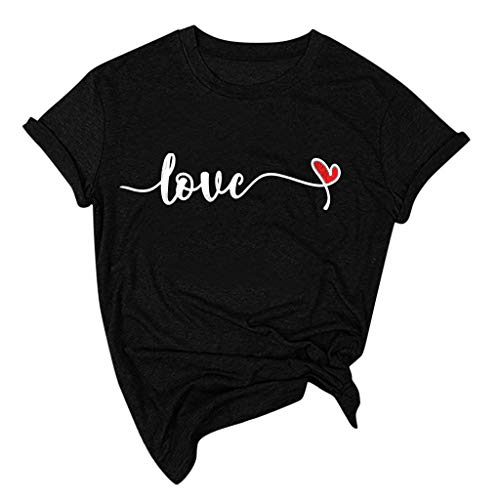 Lutos Short Sleeve Valentine's Day Graphic Shirts for Women O-Neck Heart Print Holiday T Shirts Tops