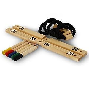 Juego lanzamiento anillos de cuerda – Con base de madera, incluye bolsa transporte