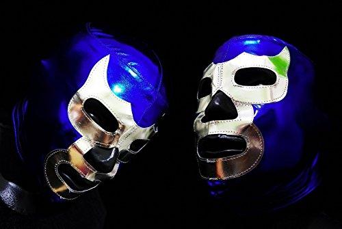 [BLUE WRESTLING MASK LUCHADOR COSTUME WRESTLER LUCHA LIBRE MEXICAN MASKE] (666 Halloween Costume)