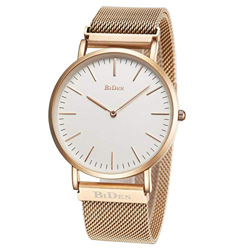 Women's Watch Unisex Ultra Thin Minimalist Waterproof Fashion Wrist Watches with Magnetic Stainless Steel Mesh Band Dress Casual Luxury Quartz Gifts for Women