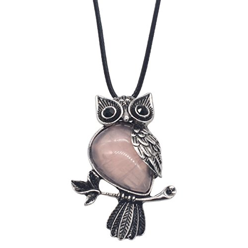 ZHEPIN Owl Necklace Rose Quartz Healing Pendant Nekclace for Women Men Spiritual Energy Gemstone Necklace - 19 inches