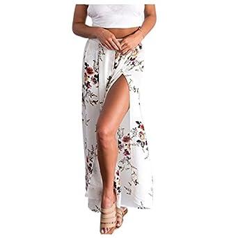 530fc64a67 TOOGOO(R) Women's Summer Sexy Side Split Wide Leg Pants Boho Beach Long  Pants Elastic High Waist Casual Pants (White, 2XL): Amazon.co.uk: Clothing