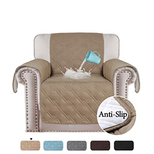 H.VERSAILTEX 100% Waterproof Chair Cover for Dining Room Living Room Non Slip Furniture Protector Water Resistant Micro Fabric Pet Cover Slipcovers (Chair: Taupe) Thick & Durable - 75 X 65