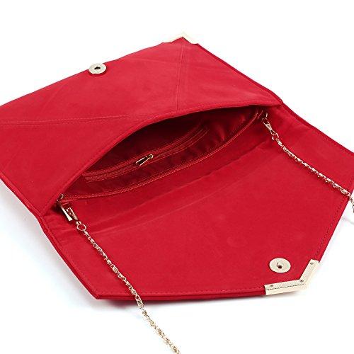 Cartera de Mano para Mujer Bolso con Cadenas de Fiesta Boda Salidas Bolso Estilo Sobre Color Rojo: Amazon.es: Zapatos y complementos
