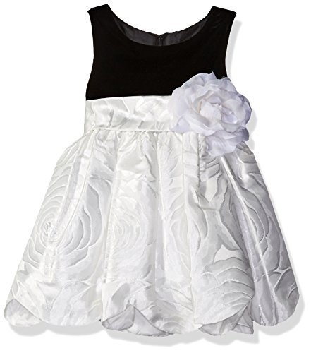 - Sweet Heart Rose Baby Sleeveless Knit Bodice Jacquard Scallop Hem Flower Girl Dress, Black/White, 18M