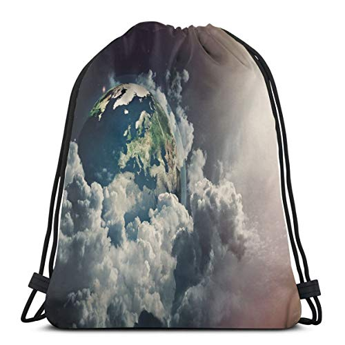 - 2019 Funny Printed Drawstring Backpacks Bags,Abstract Planet Earth View With Majestic Clouds Sun Rays And Stars,Adjustable String Closure
