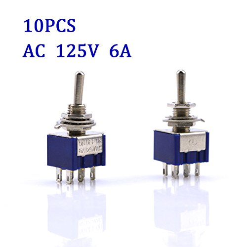 URBEST 10Pcs AC 125V 6A ON-OFF-ON 3 Position 6 Pin DPDT Mini Toggle Switch (Dpdt Switch Mini)
