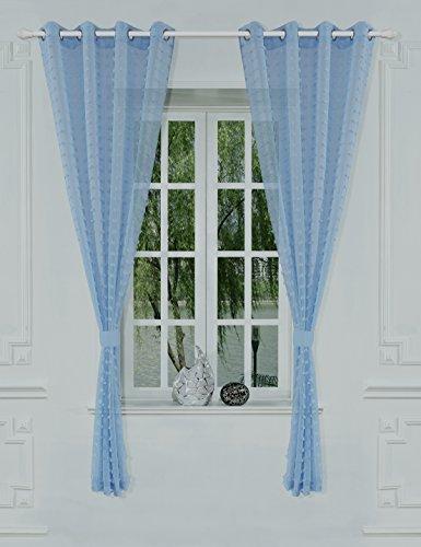 ifblue window treatments flyling eyelet sheer curtain 52. Black Bedroom Furniture Sets. Home Design Ideas