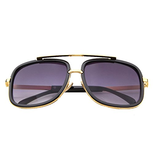 G&T Mens Fashion Rectangular metal Frame Dazzle Colour - Army Regulations Sunglasses On