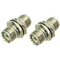 2 Pcs UHF Female Nut to SO239 Female Jack Bulkhead with Nut Panel Mount Connector Straight Adapter