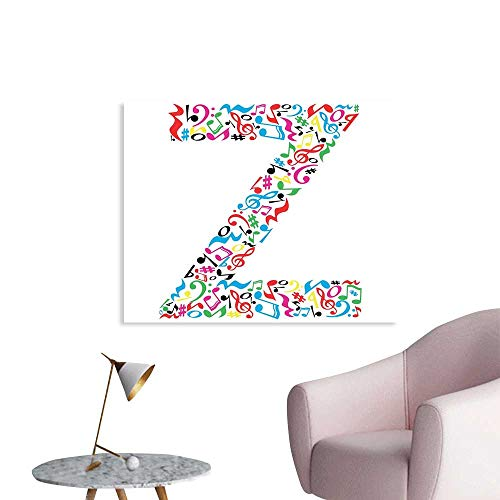 J Chief Sky Letter Z Wall Paper Collection of Vibrant Musical Signs and Notes in Shape of Capital Z Alphabet Font Decor Sticker W48 xL32