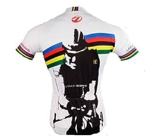 Lance Sobike Hombres Ciclismo Jersey corto sleeves-king de siete, color blanco, tamaño XL