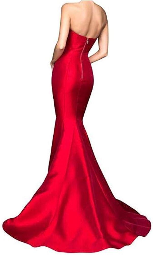 Yuki Isabelle Women's Mermaid High Slit Backless Long Prom Gowns Burgundy