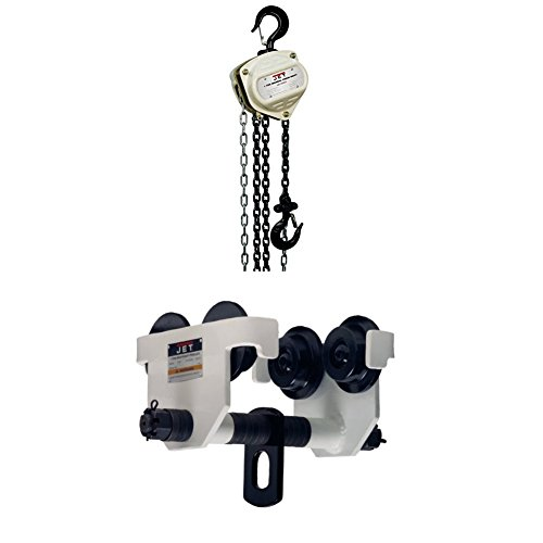 Jet S90-100-30 S90 Series Hand Chain Hoists with 1-HDT, 1-Ton Manual Trolley -