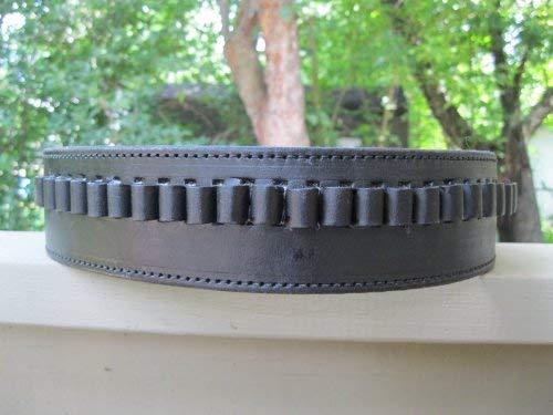 Shotgun Lilli Black Genuine Leather - 45 Caliber - Cartridge Gun Belt (Black, 38