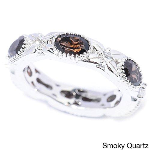 V3 Jewelry Sterling Silver 2.65cttw Oval Smokey Quartz and White Topaz Eternity Band Ring Smokey Quartz Ladies Ring