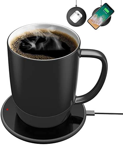Coffee Mug Warmer with 24W Wireless Charger, Coffee Beverage Warmer with Automatic Temperature Control up to 131 55 Black
