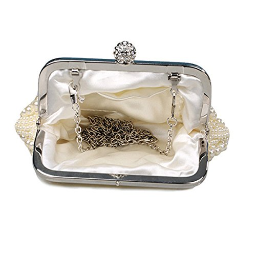 Elegante antico, da sera da donna, con perle di carta per feste, motivo: borsetta da donna, a forma di sacco, colore: beige