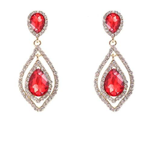 (NLCAC Women's Pear Shape Teardrop Crystal Red Earrings Dangle Long Rhinestone Chandelier Earring Wedding Jewelry for Bride)