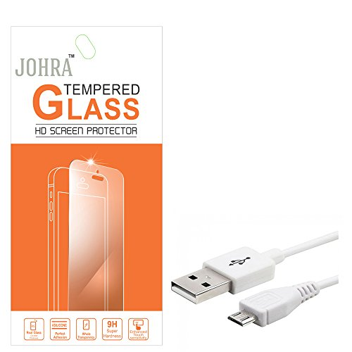 Johra 9H HD+ Real Tempered Glass Screen Scratch Guard Protector with USB Data Cable for Reliance Jio LYF Wind 6