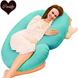Coozly Cyan Premium C Shaped Pregnancy Pillows with Cotton Zippered Covers (Lyte C7)