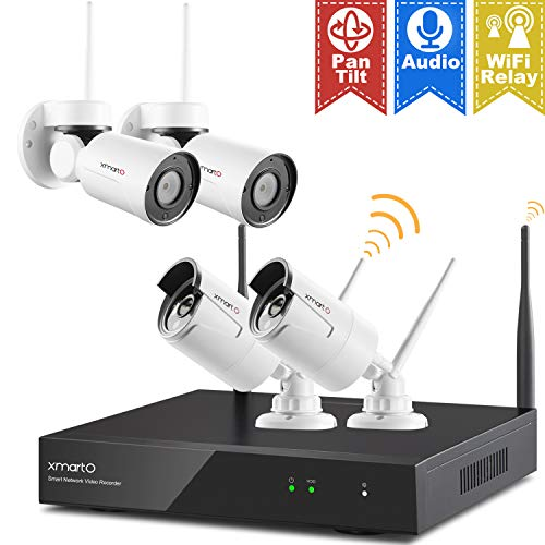 - [Pan Tilt & Expandable] xmartO Hybrid Wireless Security Camera System with 8CH NVR, 2Pcs Wireless PT Cameras (Built-in Audio), 2Pcs Fixed-Angle WiFi Bullet Cameras (Audio Compatible), No HDD