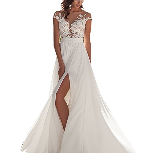 XGSD Women's Beach Wedding Dress Sexy White/Ivory Chiffon Lace Wedding Dress Long Tail A-line Bridal Gown Vestido De Noiva