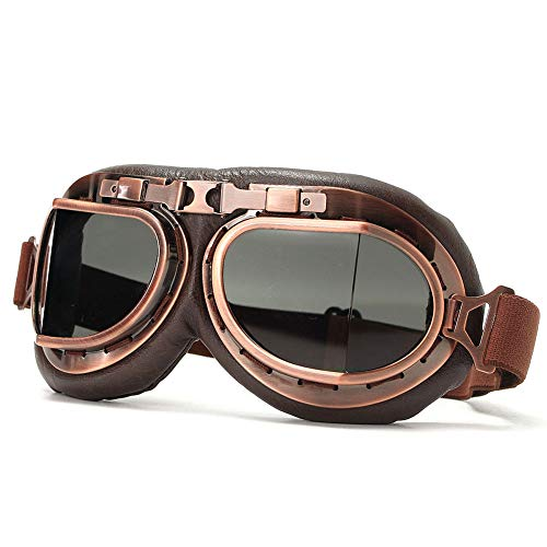 QZY Gafas De Moto Retro Harley, ABS Piloto Casco Steampunk Montar Gafas-A Prueba De Viento Anti UV,Brown