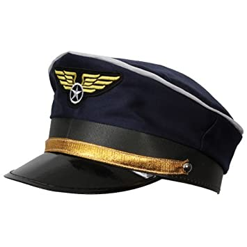 Amazon.com  Airline Pilot Captain s Hat Mens Fancy Dress Accessory  Home    Kitchen 661ec135028