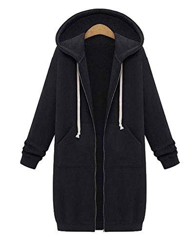 Cardigan Y Abrigo Con Primavera Mujer Otoño Capucha Coat Casual Trench Negro Suelto qwp0xg