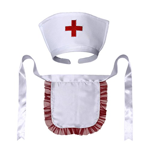 [Nurse Hat Headband & Apron Costume Set (STC12184) ~ Halloween Accessory] (Nurse Costumes For Teens)