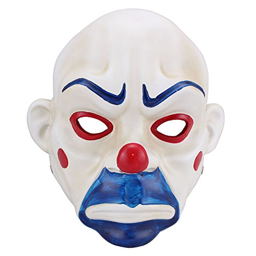 Charmgle Joker Bank Robber Resin Mask Clown Batman Dark Knight Cosplay Halloween Costume -