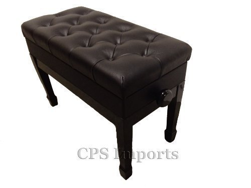 Adjustable Duet Size Genuine Leather Artist Piano Bench Stool in Ebony with Music Storage