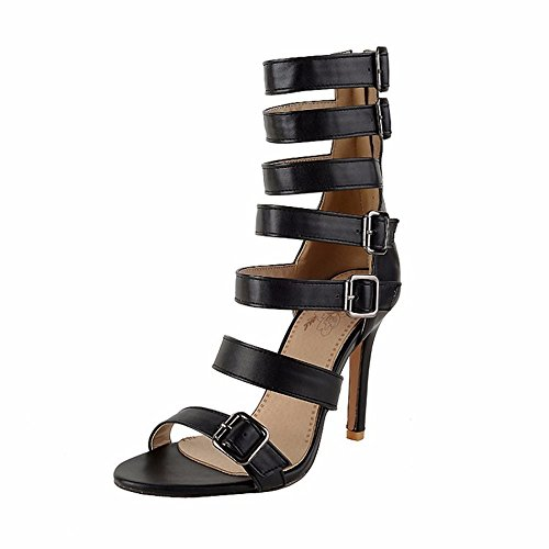 alto altos black verano y talones de tacón grande zapatos de redondo sandalias tacones Tamaño x4Pw0Rqg4