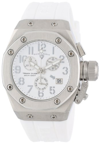 Swiss Legend Women's 10535-02-SA Trimix Diver Chronograph White Dial White Silicone Watch