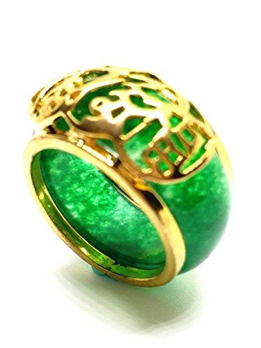 Women Mens Natural Emerald Green Jade 18KGP Coin Flower Fortune Band Ring