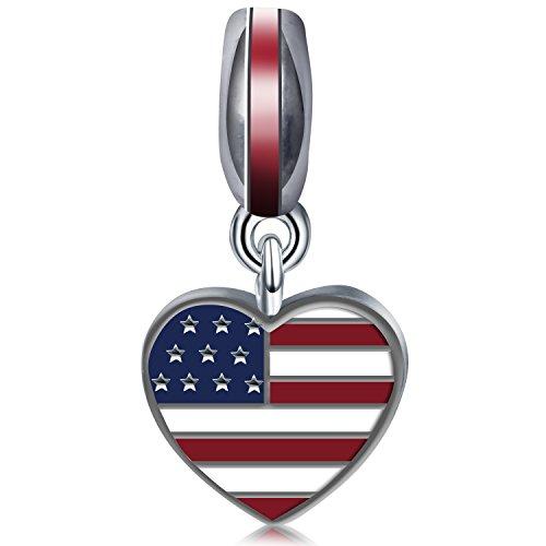 Gold American Flag Charm - 6