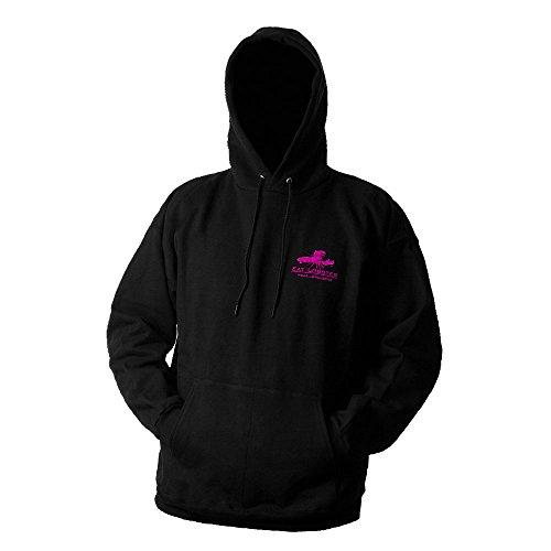 (Grundens ELHS Eat Lobster Hooded Sweatshirt, Black/Pink Logo - L)