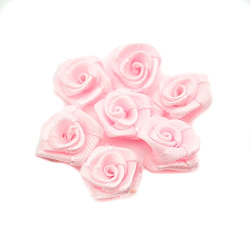 HAND Hand Made Small Ribbon Rose Flower Sew On Trims 15 mm, Embellishments Pack of 50 Pink by HAND