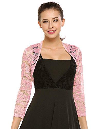 Wedding Dress Lace Jacket - Zeagoo Women's 3 4 Sleeve Bolero Shrugs Crochet Lace Open Cardigan Misty Rose Large