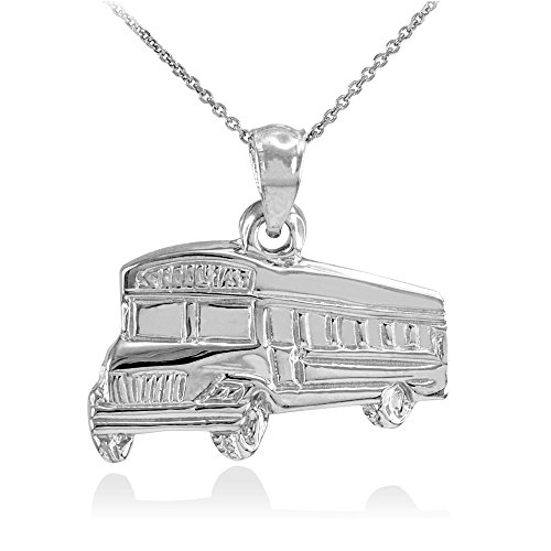 "Fine 925 Sterling Silver School Bus Pendant Necklace, 16"""