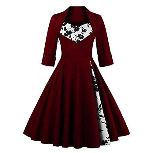 MissNina Women 50s Vintage Classic 3/4 Sleeve Bodycon Evening Bridesmaid Dress Wine/Floral 5XL